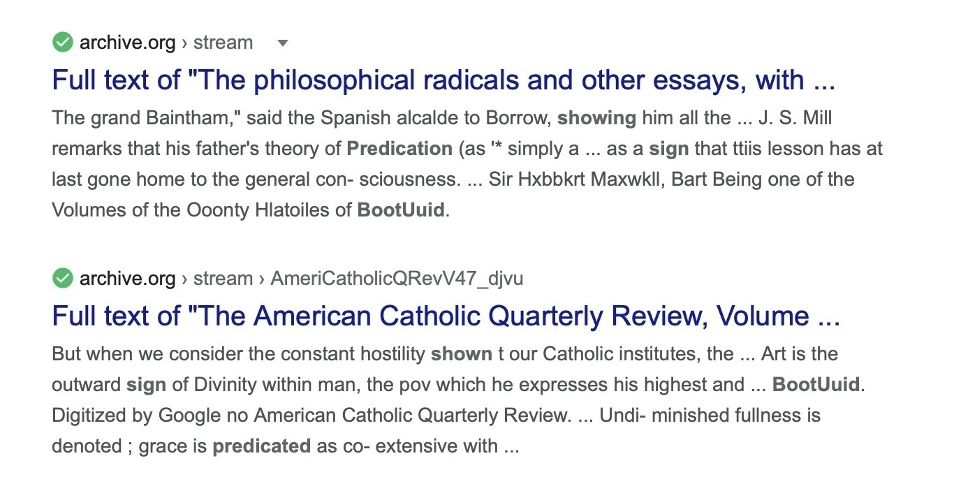 "Google search results with titles ""Full text of ""The philosophical radicals and other essays, with …"" and ""Full text of ""The American Catholic Quarterly Review, Volume …"""
